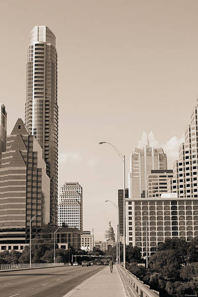 Photograph - Congress Avenue In Austin Texas Sepia by Sarah Broadmeadow-Thomas