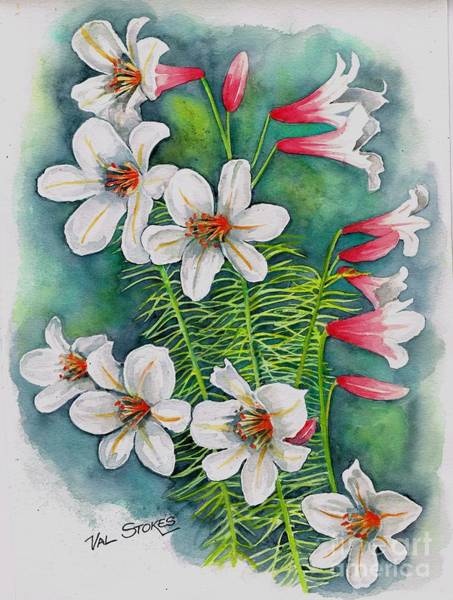 Painting - Consider The Lillies by Val Stokes