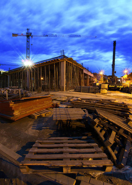 Housing Project Photograph - Constraction Site At Night by Jaroslaw Grudzinski