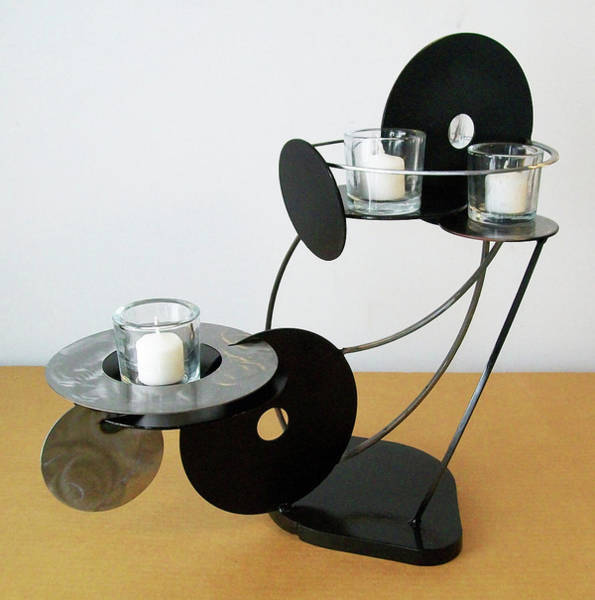 Sculpture - Constructivist Candle Holder Model A V3 by John Gibbs