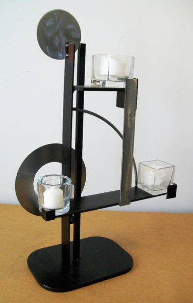 Sculpture - Constructivist Candle Holder Model B V4 by John Gibbs