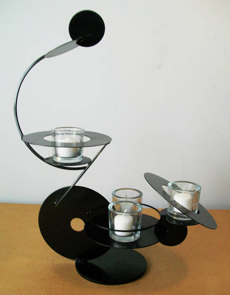 Sculpture - Constructivist Candle Holder Model C  by John Gibbs