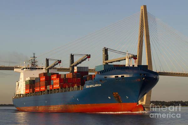 Wall Art - Photograph - Container Ship Ccni Antillanca In Charleston Sc  by Dustin K Ryan