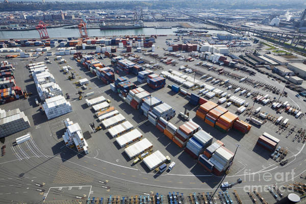Wall Art - Photograph - Containers At Port Staging Area by Don Mason
