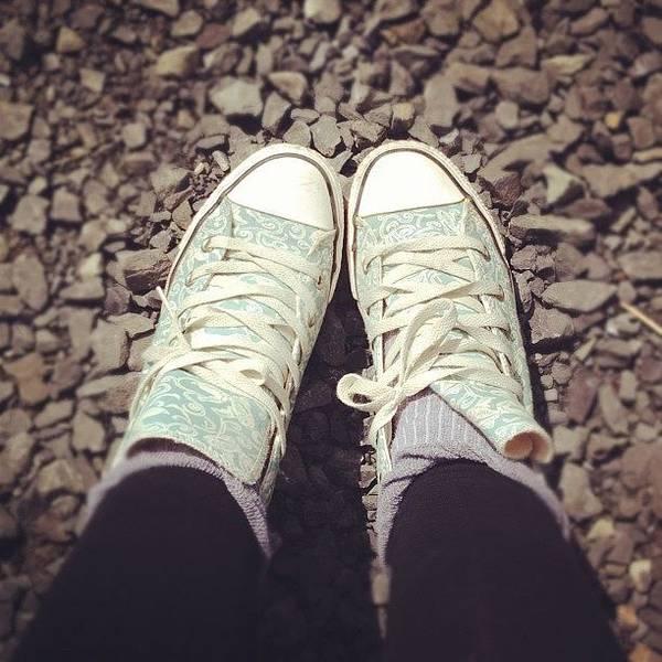 Grace Wall Art - Photograph - #converse #girl #feet #socks #blue by Grace Shine