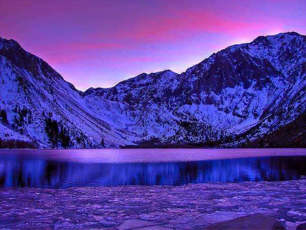 Lake Sunset Photograph - Convict Lake Winter Sunset by Scott McGuire