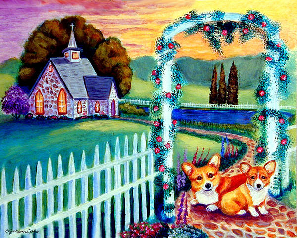 Welsh Church Wall Art - Painting - Corgi Cottage Sunday by Lyn Cook