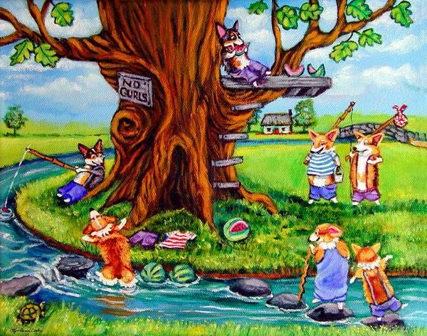 Country Club Painting - Corgi No Gurls Club - Pembroke Welsh Corgi by Lyn Cook