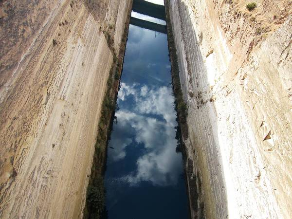 Photograph - Corinth Canal Sky Reflection In Water II In Greece by John Shiron