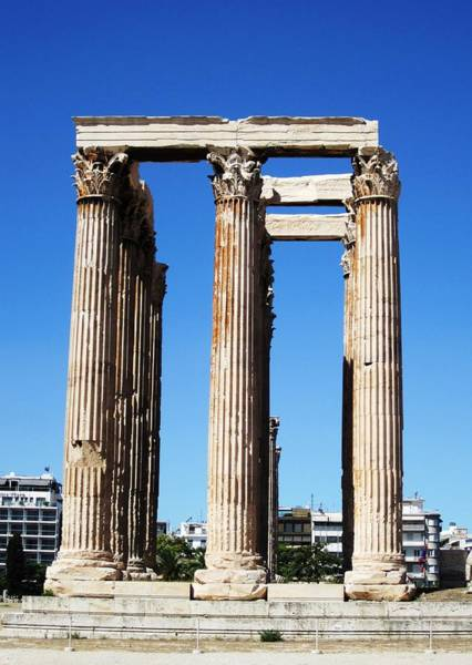 Photograph - Corinthian Columns Of The Temple Of Olympian Zeus Ancient Ornate Greek Architecture Athens Greece by John Shiron