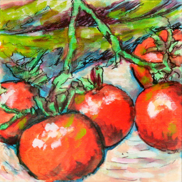 Wall Art - Painting - Corn Stalks And Tomatoes by Laura Heggestad