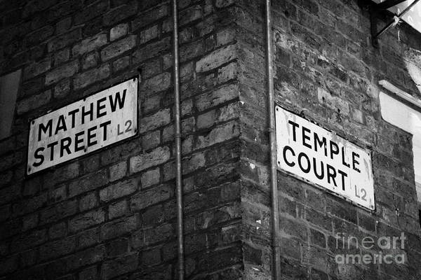Mathew Photograph - Corner Of Mathew Street And Temple Court In Liverpool City Centre Birthplace Of The Beatles  by Joe Fox