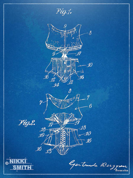 Wall Art - Digital Art - Corset Patent Series 1907 by Nikki Marie Smith