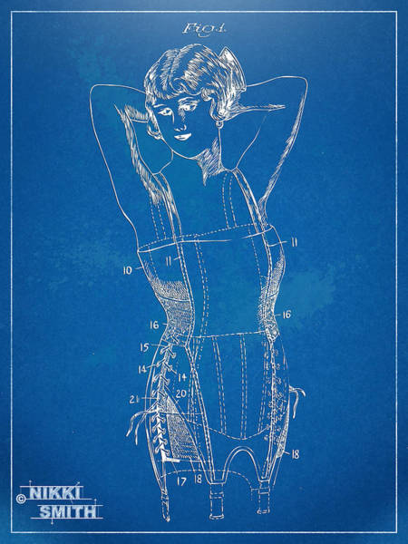 Wall Art - Digital Art - Corset Patent Series 1924 Figure 1 by Nikki Marie Smith