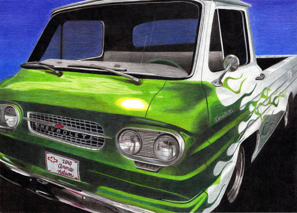 Old Chevy Truck Drawing - Corvair 95 Loadside by Annie Nelson