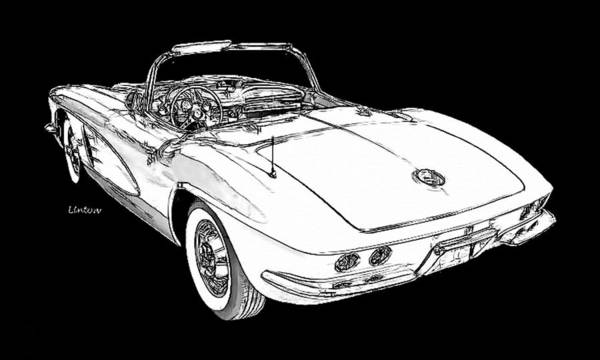Digital Art - Corvette Sketch by Larry Linton