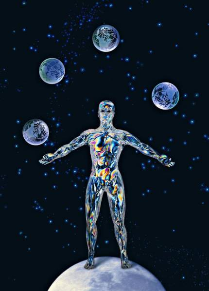 Juggler Photograph - Cosmic Man Juggling Worlds, Artwork by Paul Biddle
