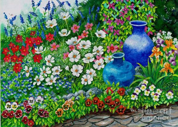 Painting - Cosmos Corner by Val Stokes