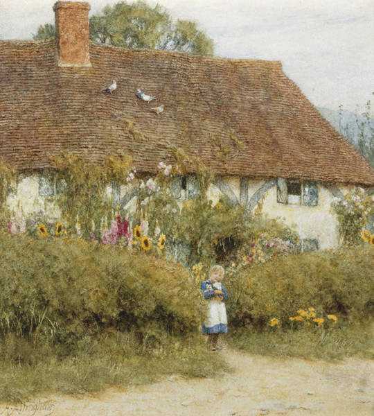 Half Timbered Painting - Cottage At West Horsley Surrey by Helen Allingham