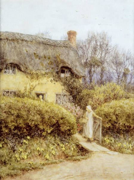 Apron Wall Art - Painting - Cottage Near Freshwater  by Helen Allingham