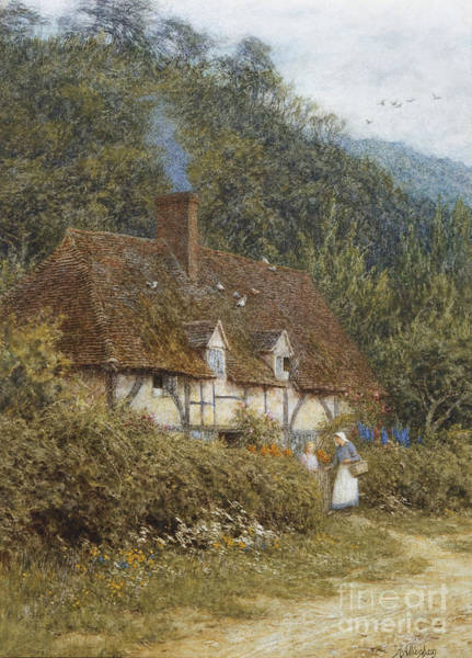 Half Timbered Painting - Cottage Near Witley Surrey by Helen Allingham