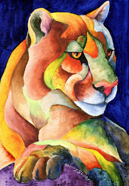 Painting - Cougar by Sherry Shipley
