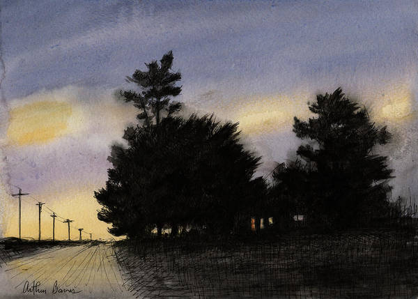 Ashes Painting - Country Road  by Arthur Barnes