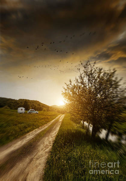 Photograph - Country Road With Car And Trailer by Sandra Cunningham
