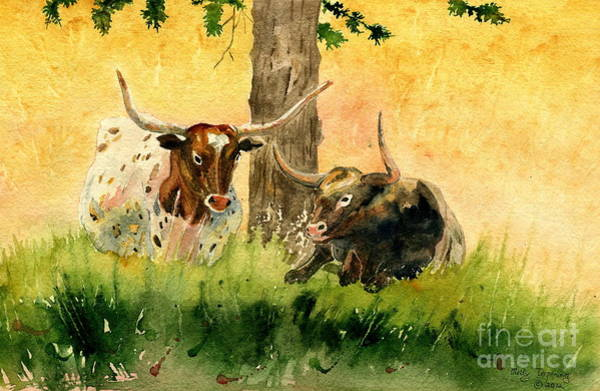 Longhorn Painting - Couple Texas Longhorn by Melly Terpening