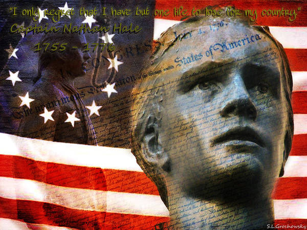 Declaration Of Independence Digital Art - Courage Of Nathan Hale by Steve Grochowsky