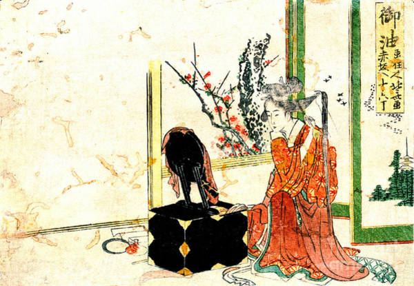Japanese Poetry Wall Art - Photograph - Courtesan Arranging Her Hair 1804 by Padre Art