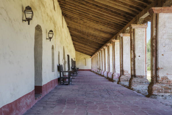 La Purisima Mission Photograph - Courtyard Outdoor Walkway With Tile by Douglas Orton
