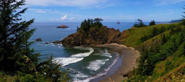 Oregon Coast Mixed Media - Cove 2 by Tatiacha  Bhodsvatan
