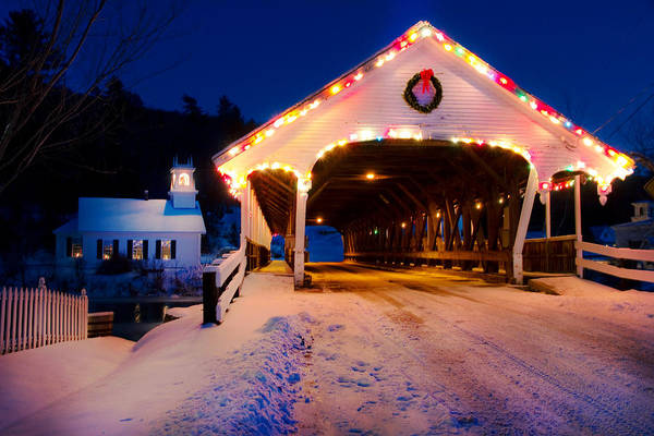 Photograph - Covered Bridge And Church  by Robert Clifford