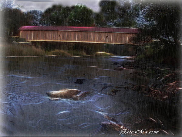Photograph - Covered Bridge In The Rain by Ericamaxine Price