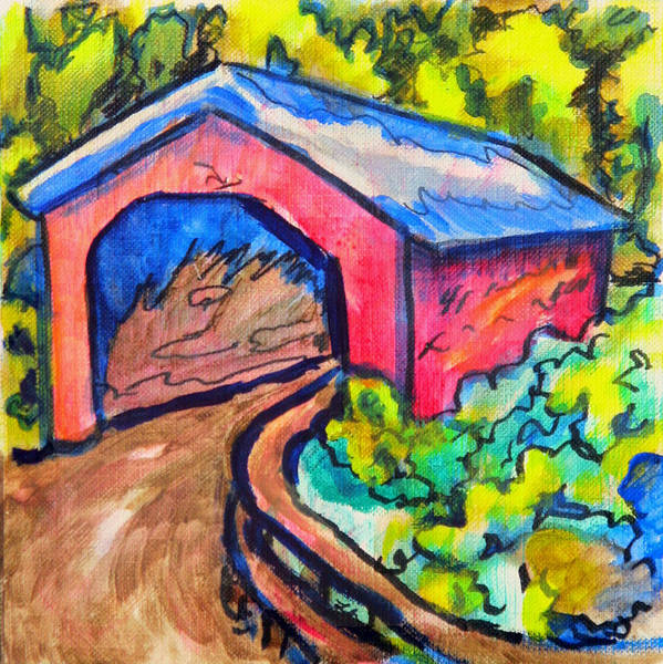 Wall Art - Painting - Covered Bridge Sketch by Laura Heggestad