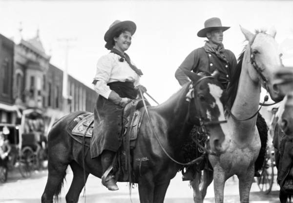 Photograph - Cowboy And Cowgirl, C1908 by Granger