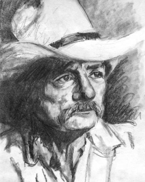 Art Print featuring the drawing Cowboy In Hat Sketch by Kate Sumners