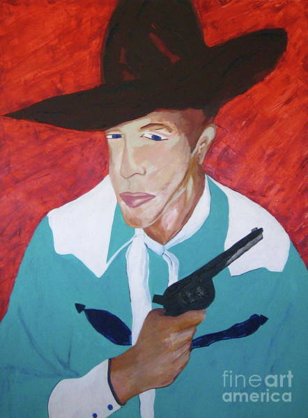 Wall Art - Painting - Cowboy With Gun by Jane Ubell-Meyer