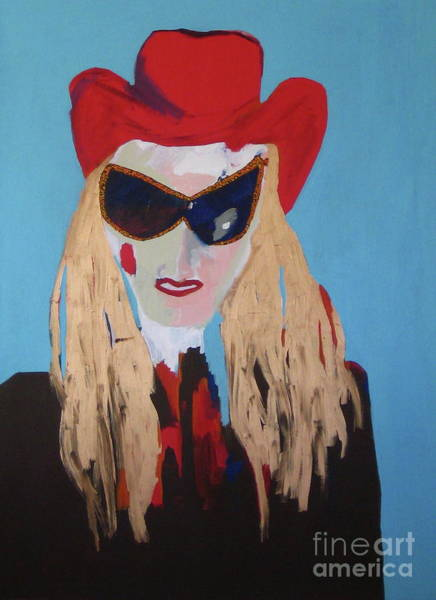 Wall Art - Painting - Cowgirl With The Red Hat by Jane Ubell-Meyer