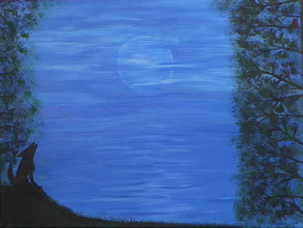 Ione Painting - Coyote Moon by Ione Hedges