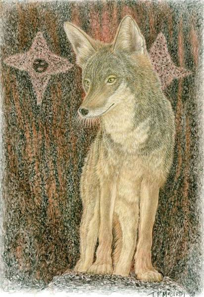 Geologic Drawing - Coyote With Star Beings by Tim McCarthy