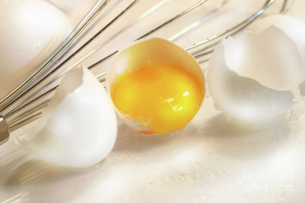 Yolk Wall Art - Photograph - Cracked Egg With Yolk by Sandra Cunningham