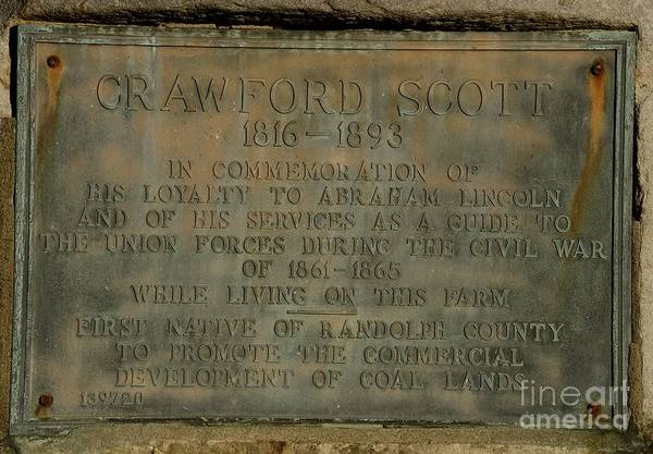 Photograph - Crawford Scott Historical Marker by Randy Bodkins