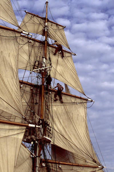 Photograph - Crew In Rigging Of Tall Ship by Cliff Wassmann