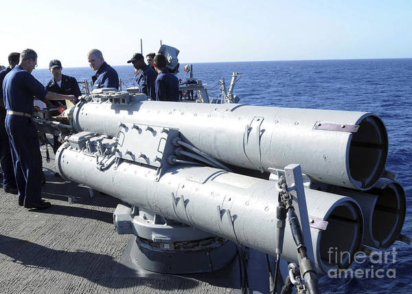 Photograph - Crew Members Aboard The Guided-missile by Stocktrek Images