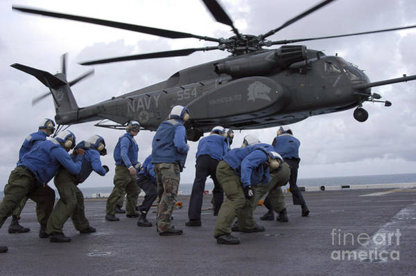 Flight Deck Photograph - Crew Members Brace Themselves As An by Stocktrek Images