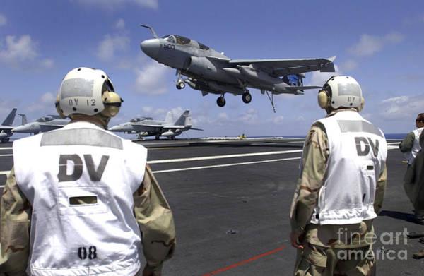 Prowler Photograph - Crewmen Observe Flight Operations by Stocktrek Images