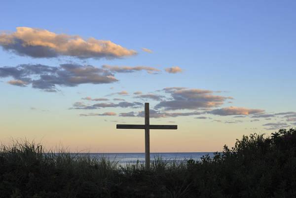 Photograph - Ocean Grove Nj Cross On Beach by Terry DeLuco