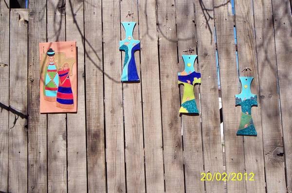 Wall Art - Ceramic Art - Crosses by Esta Bain